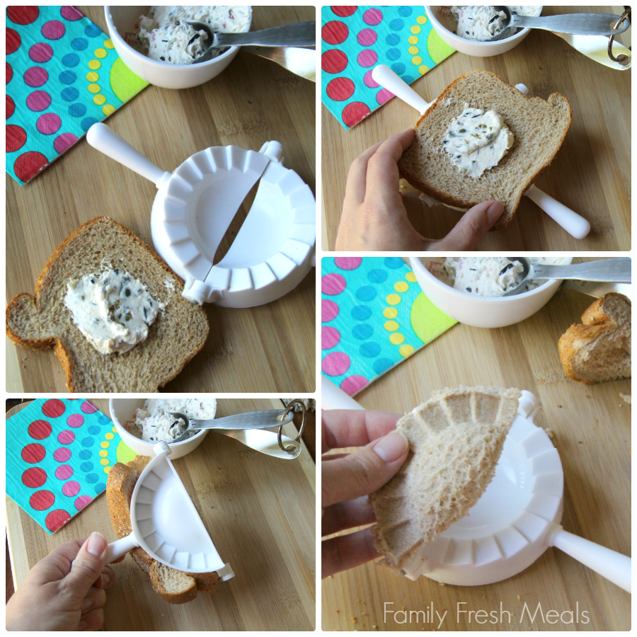 4 images showing the steps on how to make dumpling sandwiches with creamy olive spread