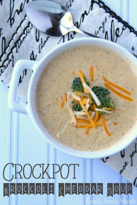 Broccoli Cheddar Soup served in a white bowl