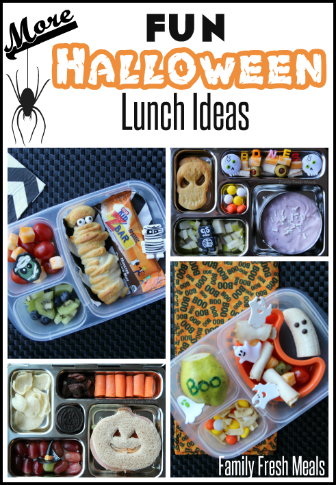 collage image of 4 different Halloween themed lunchboxes