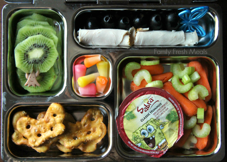 Lunchbox Ideas - Hummus veggies and pretzels!