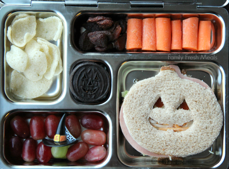top down image of Halloween food themed lunchbox