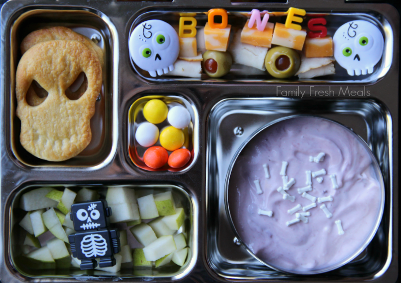top down image of Halloween food themed lunchbox, packed in a metal lunchbox