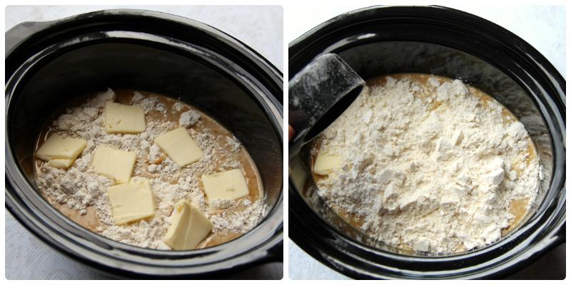 ingredients for crockpot pumpkin pie in a black slow cooker