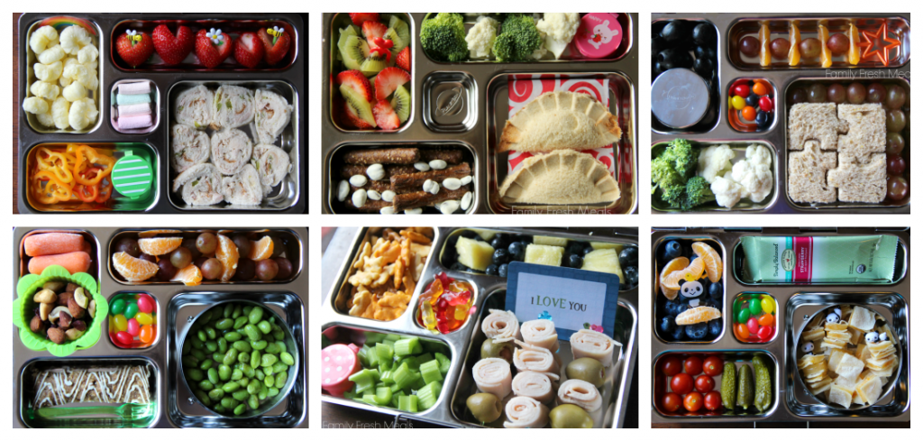 6 different lunches packed in Planet Boxes