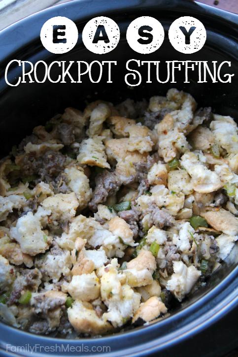 Easy Savory Crockpot Stuffing  - FamilyFreshMeals.com