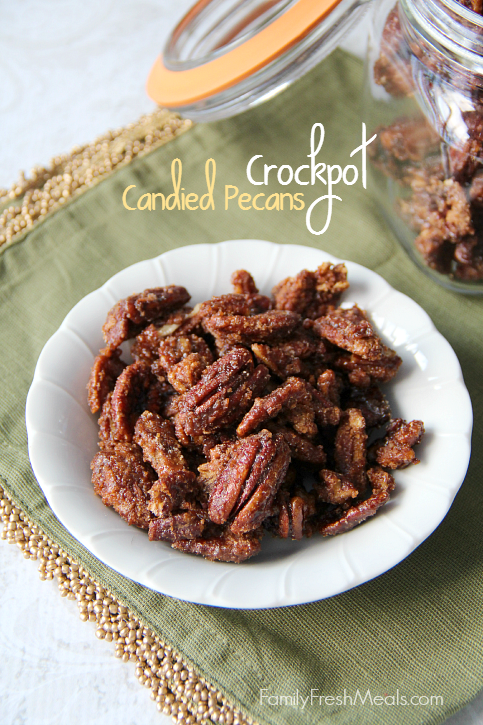 Crockpot Candied Pecans in a white bowl