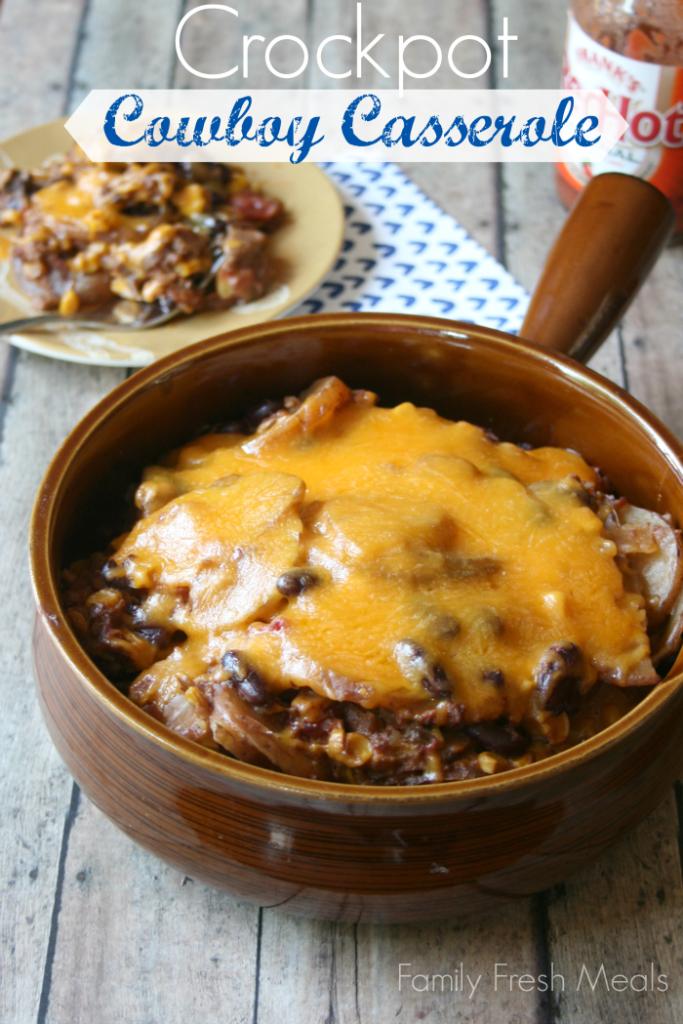 30 Easy Crockpot Recipes - Crockpot Cowboy Casserole FamilyFreshMeals.com