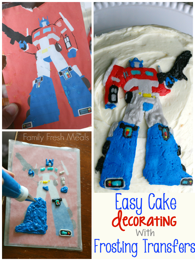 collage image showing a transformer frosting transfer being created and on a cake