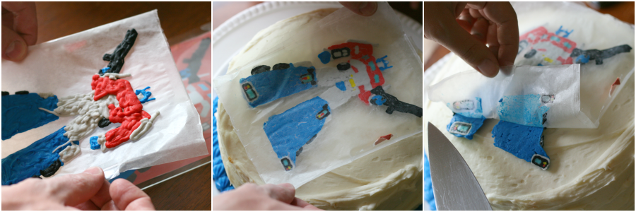 Easy Cake Decorations with Frosting Transfers - Step 1 - Place frozen transfer on cake peel off wax paper