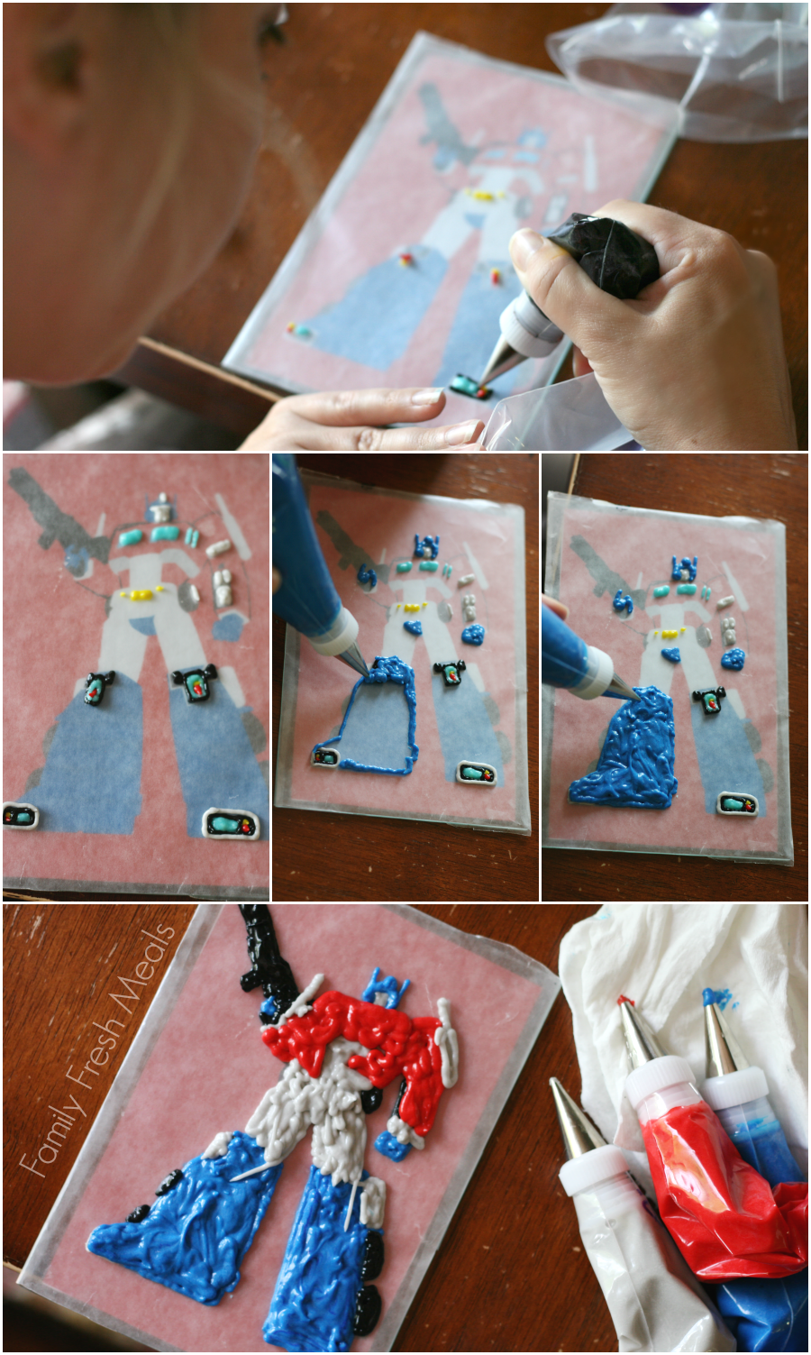 Easy Cake Decorations with Frosting Transfers - Step 1 - Trace frosting on wax paper