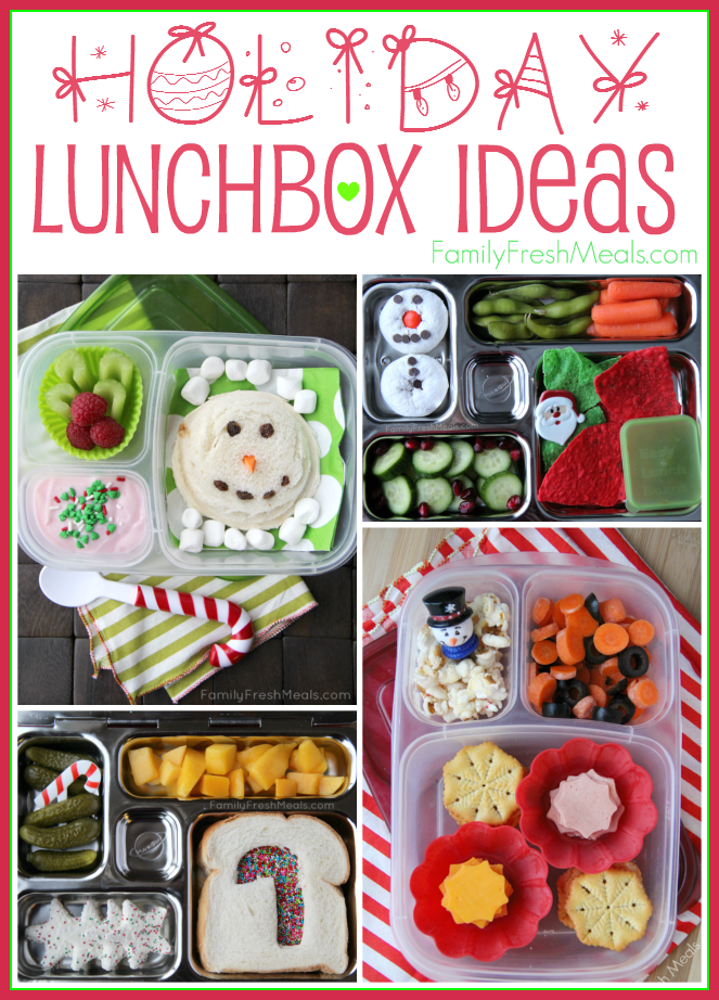 Collage image of 4 Holiday Lunchbox Ideas