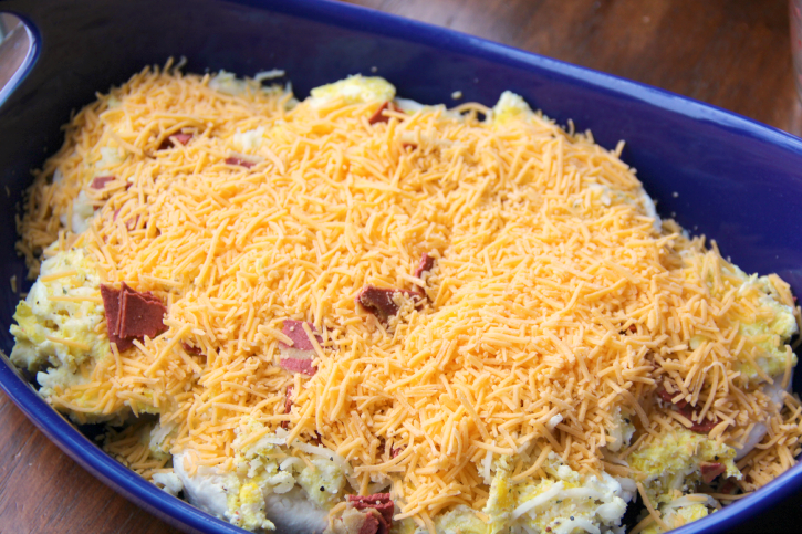 shredded cheese added on top of casserole
