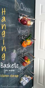 Hanging Baskets for More Kitchen Storage