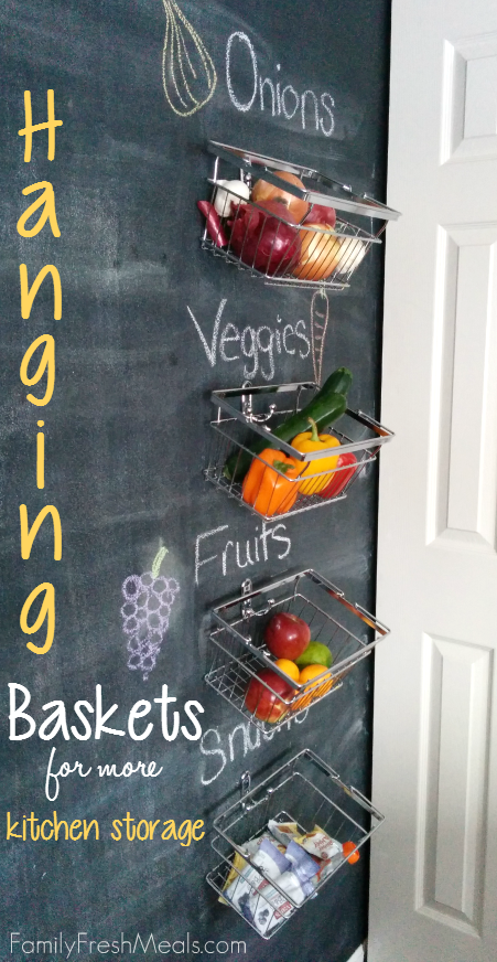 Baskets on chalkboard wall with fruits and vegetables in them