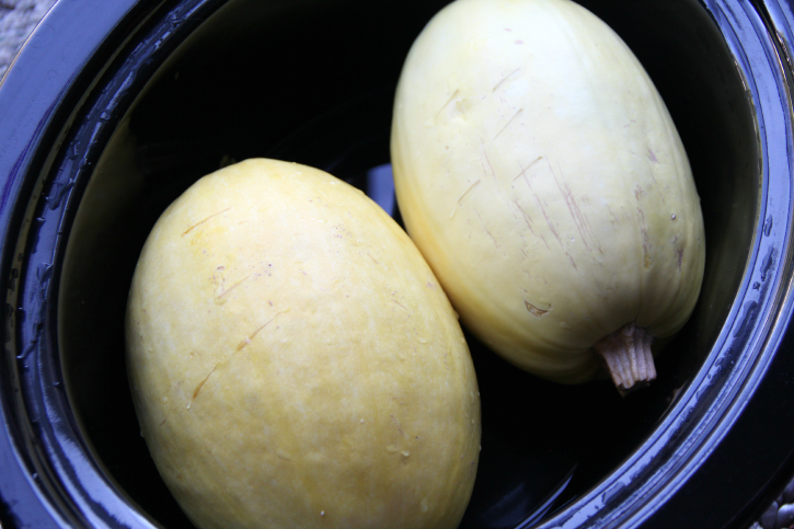 Crockpot Spaghetti Squash - How to Cook Spaghetti Squash in the Crockpot - FamilyFreshMeals.com -- Step 2