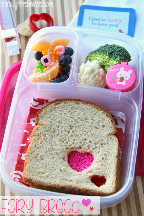Heart Fairy Bread Sandwich, fresh fruit and vegetables packed in a lunchbox
