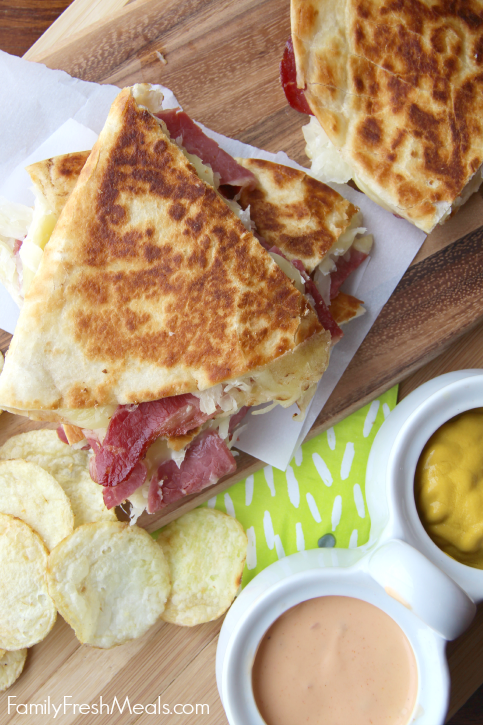 Corned Beef and Cabbage Quesadillas -FamilyFreshMeals.com --