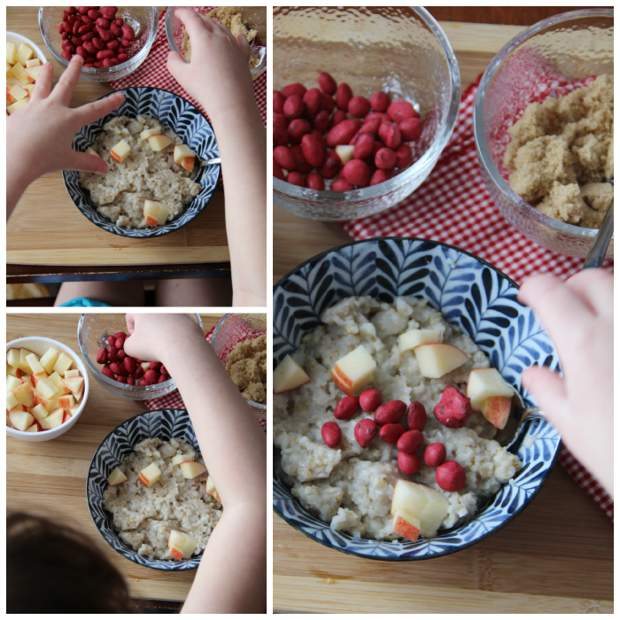 collage image showing toppings being added to steel cut oats in a bowl