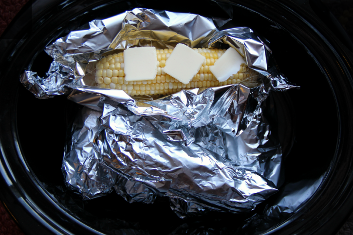 Corn on the Cob in the Crockpot, wrapped in foil