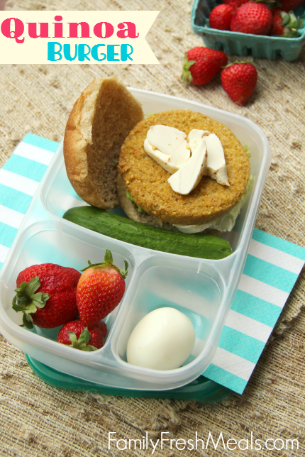 Quinoa Burger --- Work Lunchbox ideas - Family Fresh Meals