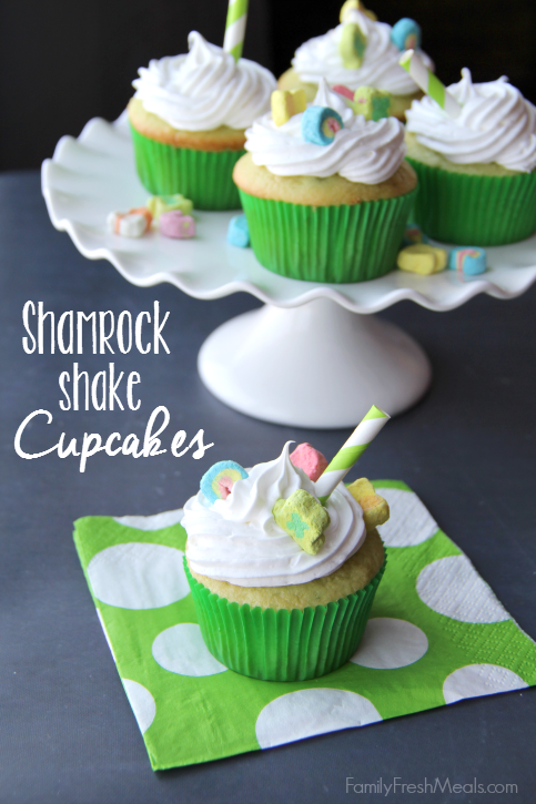 Green Treats For St. Patrick's Day - Shamrock Shake cupcakes served on a white plater