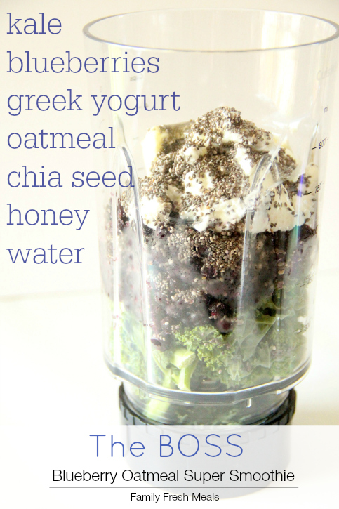 Ingredients for Blueberry Oatmeal Super Smoothie in a small blender