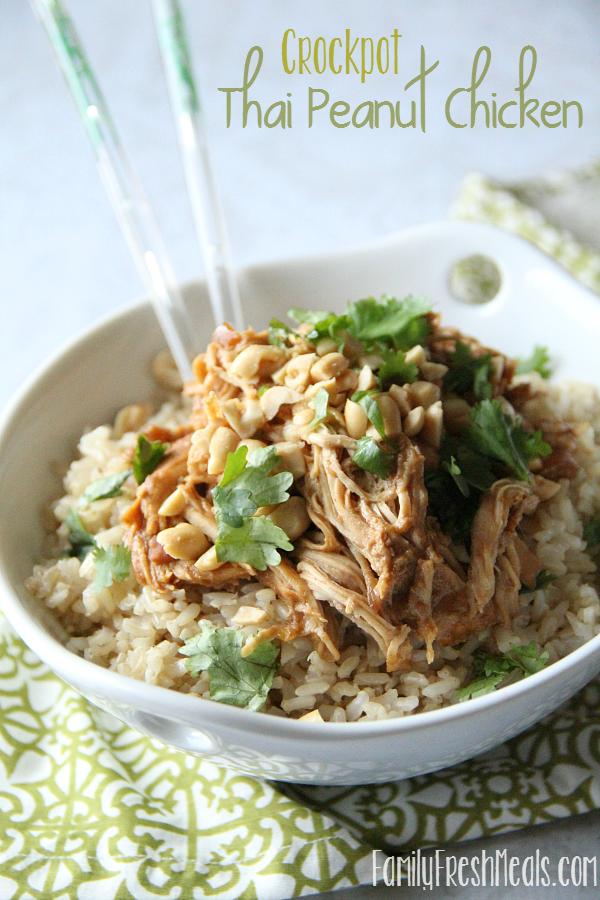 30 Easy Crockpot Recipes - Crockpot Thai Peanut Chicken ---- FamilyFreshMeals.com