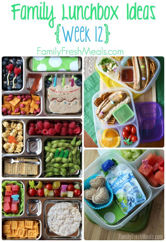 collage image of 5 different lunchbox ideas