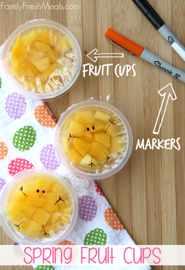 Fruit Cups with with chick feet, arms, beaks and eyes drawn on them.