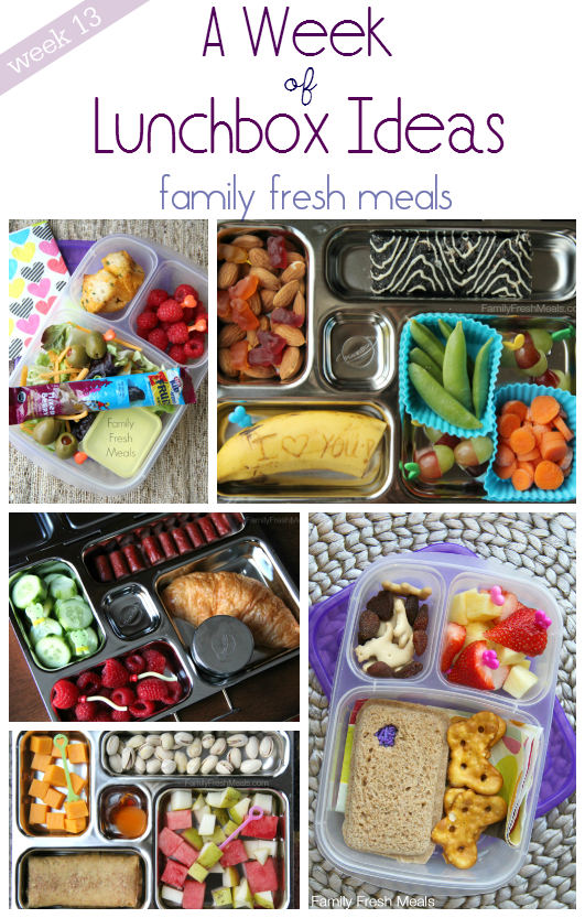 collage image of 4 different lunch box ideas