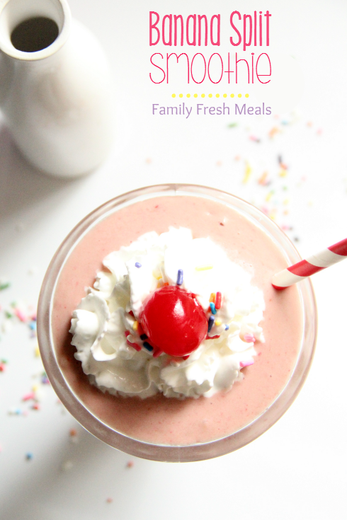 Banana Split Smoothie ---- FamilyFreshMeals.com