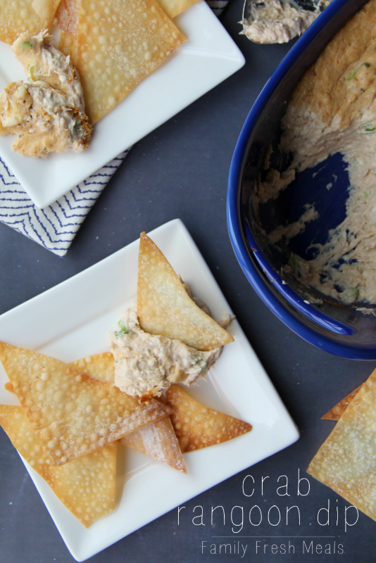 Crab Rangoon Dip with Wonton Chips on a plate