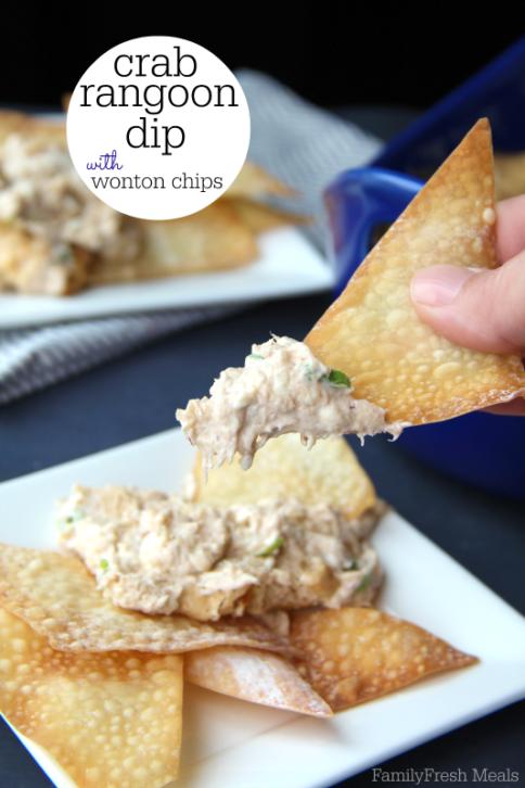 Crab Rangoon Dip with Wonton Chips _ FamilyFreshMeals.com