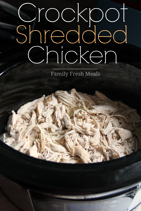 Freestyle Weight Watchers Crockpot Recipes - Shredded Chicken in a black slow cooker