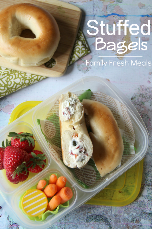 Stuffed Bagel Sandwiches packed for lunch- Family Fresh Meals