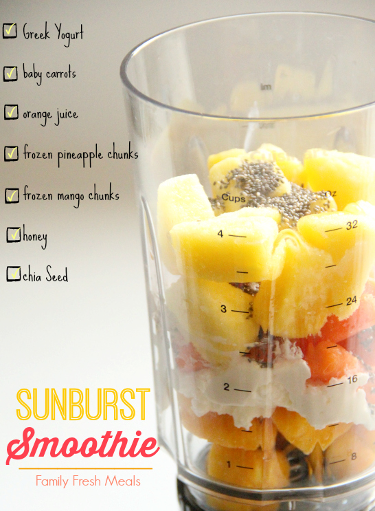 Sunburst Smoothie Recipe Ingredients in a small blender cup