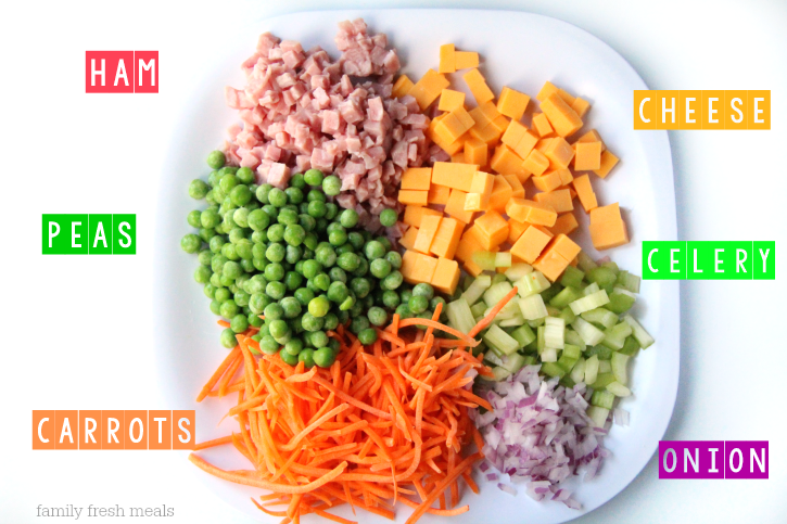Creamy Ranch Pasta Salad - Ingredients - FamilyFreshMeals.com