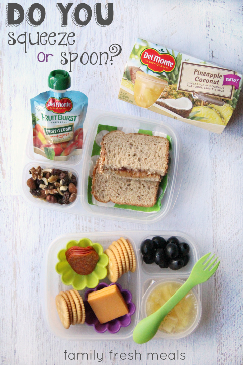 Back to School with Del Monte - Do you squeeze or spoon - FamilyFreshMeals.com