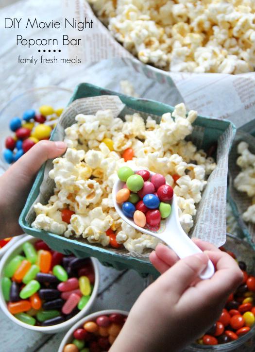 DIY Movie Night Popcorn Bar --- FamilyFreshMeals.com ---