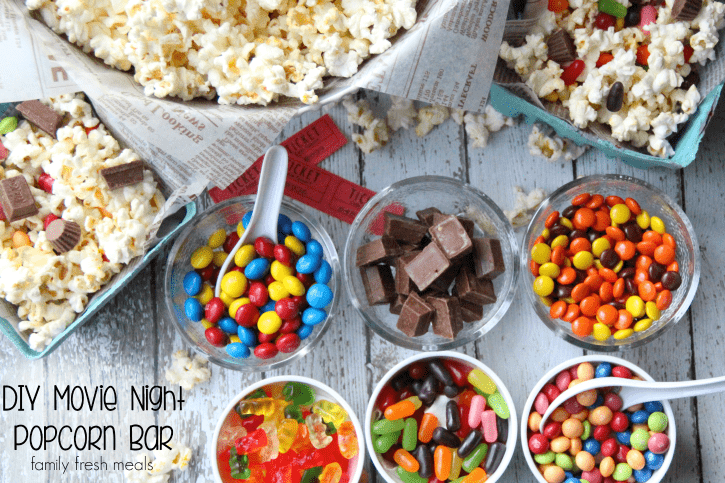DIY Movie Night Popcorn Bar - FamilyFreshMeals.com - Fun for the whole family!