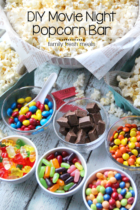 DIY Movie Night Popcorn Bar --  FamilyFreshMeals.com