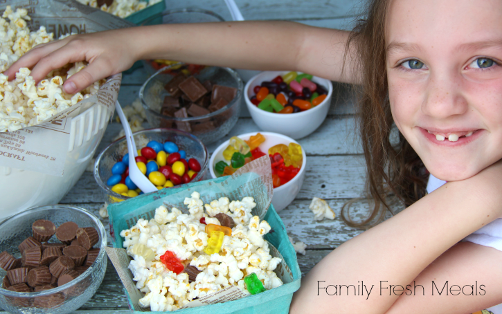 DIY Movie Night Popcorn Bar --FamilyFreshMeals.com