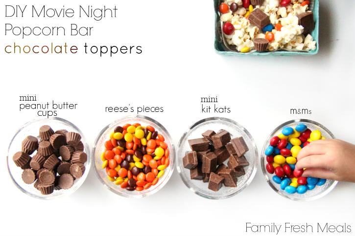 DIY Movie Night Popcorn Bar - chocolate toppers ideas - familyfreshmeals.com