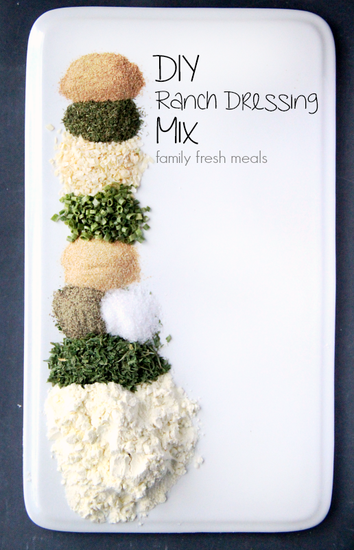 Ingredients for DIY Ranch Dressing Mix in small piles on a white plate