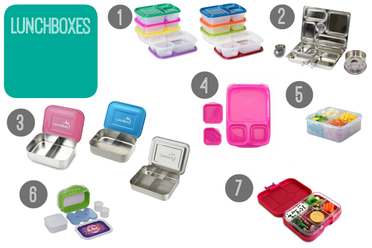 collage image showing 7 different lunch boxes