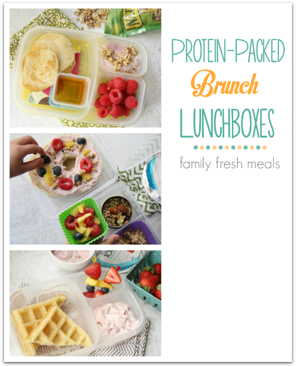 "Protein Packed Brunch Lunchboxes - FamilyFreshMeals.com - Packing breakfast for lunch can be a fun way to break out of a lunchbox rut.   To make sure those bellies stay full until dinnertime, it's important to pack your little ones' ""brunch"" lunchboxes  full of protein.    Head on over to Betty Crocker to get the details on of these protein packed lunches with a fun breakfast twist!"