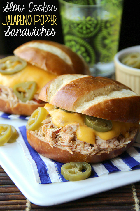 Slow-Cooker Jalapeno Popper Chicken Sandwiches - Family Fresh Meals - these Slow-Cooker Jalapeno Popper Chicken Sandwiches to combined my love for pulled chicken and jalapeno poppers into one sandwich.