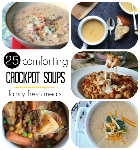 collage image showing 4 different crockpot soups