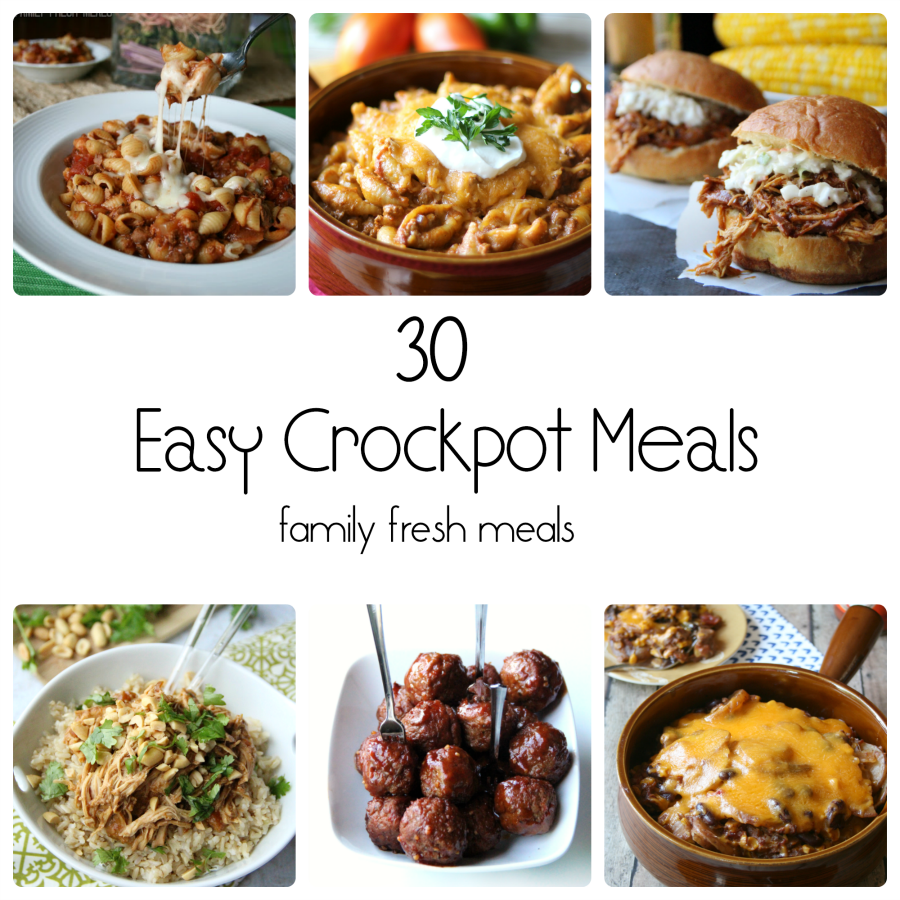 collage image showing 6 different crockpot recipes