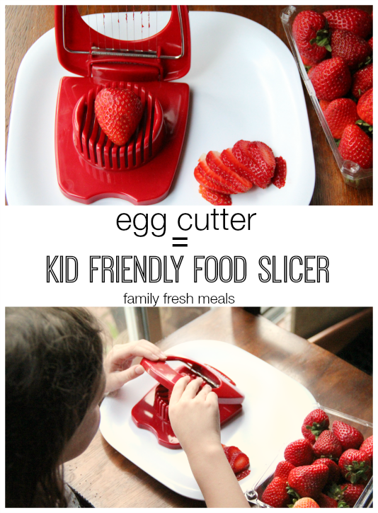 Cutting strawberries with an egg slices